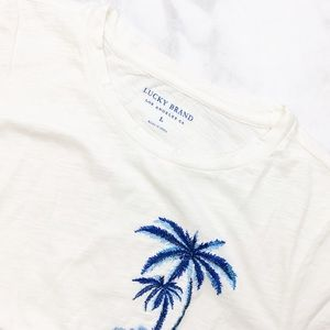 Lucky Brand Tops - Lucky Brand Ivory Distressed Palm Embroidered Tee